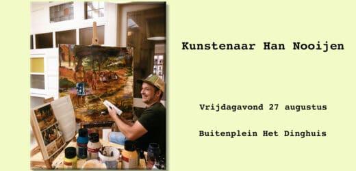 Kunstenaar Han Nooijen in live atelier actief op Nacht van het Witte Doek